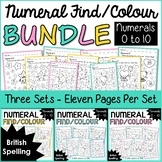 Numeral Find and Colour Worksheets 0 to 10 Bundle/British