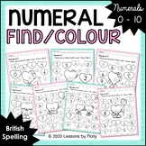 Numeral Find and Colour Worksheets 0 to 10 with Hearts/Bri