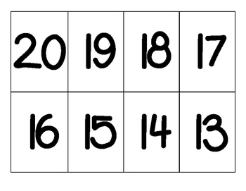 Numeral Flashcards 0 to 20