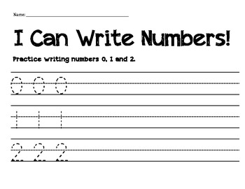 Numeral Handwriting Practice 0, 1, and 2