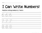 Numeral Handwriting Practice 6, 7, 8