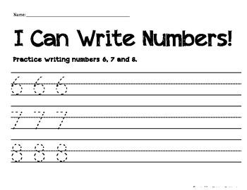 Numeral Handwriting Practice 6, 7, 8
