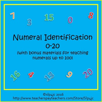 Numeral Identification 0-20 Unit (with bonus materials for numerals through 100)