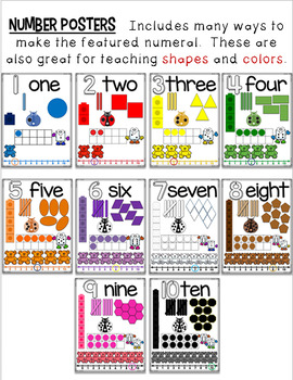Numeral Posters with Shapes, Colors & More!