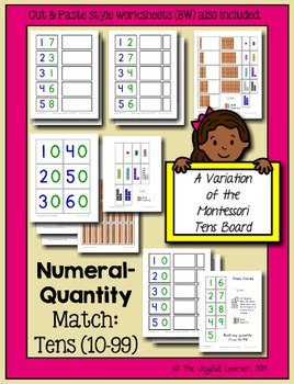 Numeral-Quantity Match: 10-99 (A Variation of the Montessori Tens Board)