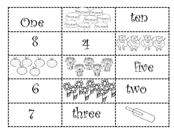 Numeral, Word, Picture Matching Math set