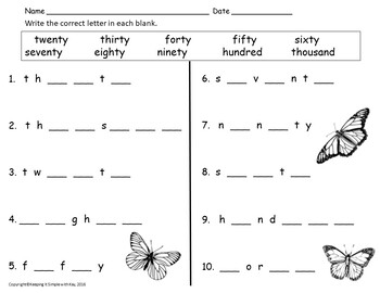 Numeral Words Activity Sheets