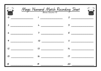 Numeral and Word Matching Number Game