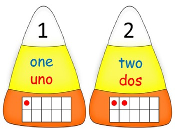 Numeral, word and ten frame matching candycorn