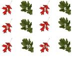Numerals 0 - 11 Leaf Pattern