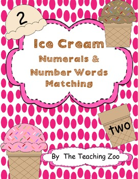 Numerals and Number Words Matching- Ice Cream Theme