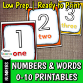 Number Signs 0-10 for Classroom Decor