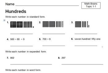 enVision Numeration - Hundreds Worksheet - Topic 1-1