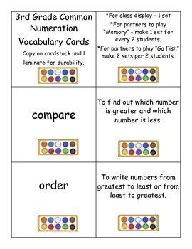 Numeration Vocabulary Cards - 3rd Grade