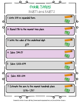 Numeration and Number Sense Fiddle Strips! Game