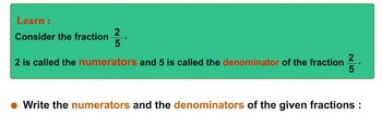 Numerator and Denominator Worksheet