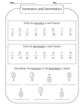 Numerators & Denominators Practice