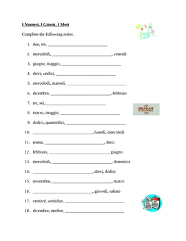 Numeri, Giorni, Mesi (Numbers, Days, Months in Italian) worksheet by jer