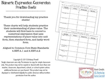 Numeric Expression Conversion Practice Sheets