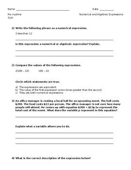 Numerical & Algebraic Expressions Quiz