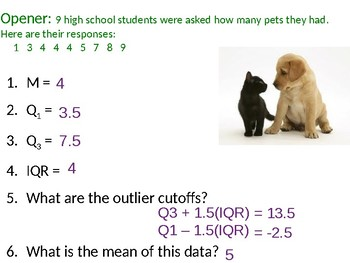 Numerical Distributions of Data