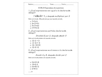 Numerical Expressions (5.OA.2) Quiz and Notes in SPANISH WITH 2 BONUS POSTERS