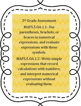 Numerical Expressions Assessment- 5.OA.1.1 and 5.OA.1.2