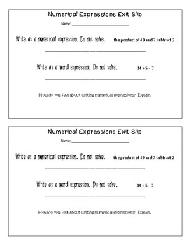 Numerical Expressions Exit Slip