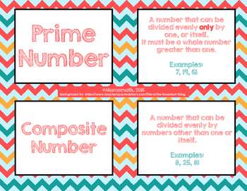 Numerical Expressions & Factors Vocabulary Cards