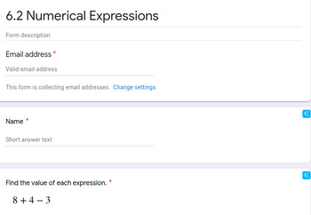 Numerical Expressions Google Forms