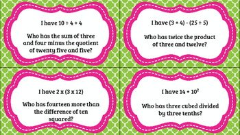Numerical Expressions I Have, Who Has (Common Core) 5.OA.A.2
