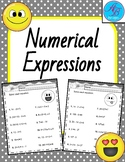 Numerical Expressions. No Prep. Worksheets. practice. Review.