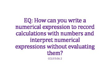 Numerical Expressions PowerPoint