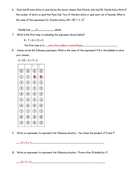 Numerical Expressions Test and Study Guide