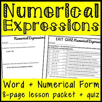 Numerical Expressions: Word Form and Number Form, Fifth Grade Lesson Packet