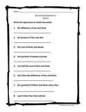 Numerical Expressions Worksheet (5.OA.2)