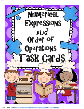 Numerical Expressions and Order of Operations Task Cards and Worksheets