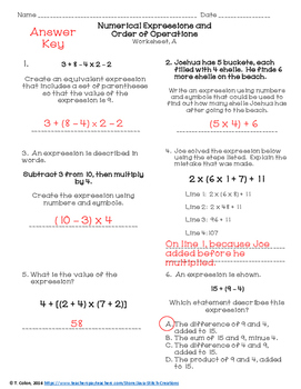 Numerical Expressions and Order of Operations Worksheets | TpT