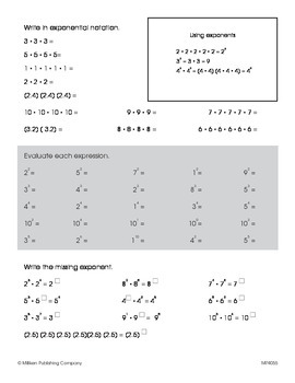 Numerical Expressions with Exponents (CCSS 6.EE.A.1)