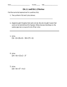 Numerical Expressions worksheet by Mask's Creations | TpT