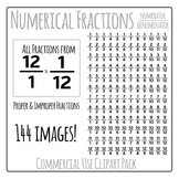 Numerical Fractions - Numerator and Denominator Commercial Use Clip Art