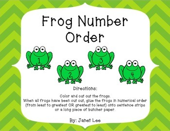 Numerical Order 1-20 (Frog Themed)