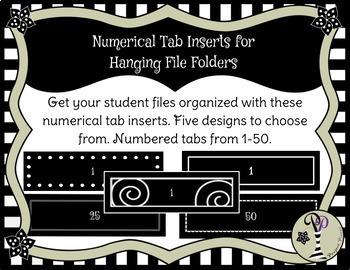 Hanging File Folder Label Inserts, Numbered 1 - 50