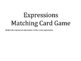 Numerical expressions Matching game