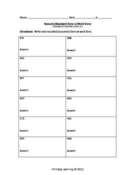 Numerical or Standard Form to Word Form
