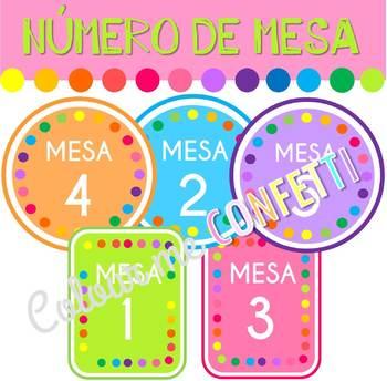 FREEBIE Número de mesa - Colour me Confetti
