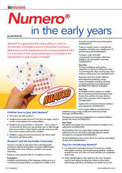 Numero in the early years. Australian Curriculum Mathematics.