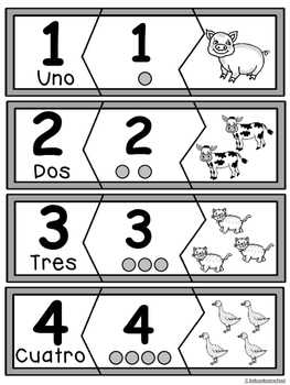 Numeros 0-10- Rompecabezas de animales
