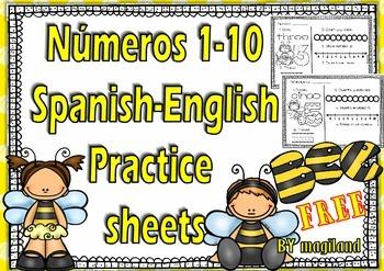 Numeros 1-10 FREE set ( Spanish-English Sheets/ BEE edition)