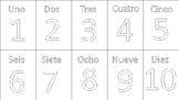 Numeros 1-10 en Español- En Blanco y Negro
